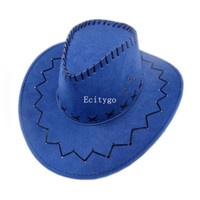 Wholesale 10pcs New Cowboy Hat Suede Look Wild West Fancy Dress Mens Ladies Cowgirl Unisex Hats fx291