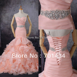 Wholesale 2014 New Style Sweetheart Organza Beaded Wasitband Blush Pink Mermaid Wedding Dresses Bridal Gown