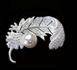 2.2 Inch Vintage Look Silver Tone Feather Brooch with Ivory Pearl