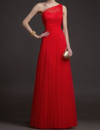 2015 new arrival red fashionable one-shoulder pleated Tulle A-line prom evening dress elegant dress gowns