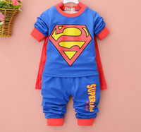 Boy Spring / Autumn Long Boys Cute Superman Cloak Long Sleeve Outfits 2014 Autumn New Arrival Children Pure Cotton Blue Red Sets Korean Kid's Tee + Pants I1831