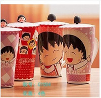 ECO Friendly animated coffee cup - types cute Animated cartoon Chi bi Maruko large capacity mugs with cover coffee cup drink water milk cup ml