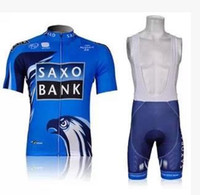 Short Breathable Unisex SAXO BANK Tour de France cycling team Bike Bicycle Wear clothes Cycling short jersey+Bib Shorts sets suits new blue
