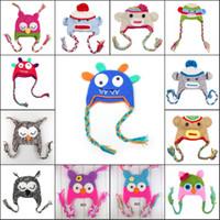 Wholesale 5pcs Color Cotton Children Handmade Crochet Monkey and Piggy Hats Various Animal Styles Hat Baby Owl Beanie Hat Kids Wool EarFlap Cap