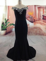 Wholesale 2014 Hot Sale will figure fine black Mermaid Trumpet snow spins Off Shoulder fishtail crystal mop the floor the Evening Dresses