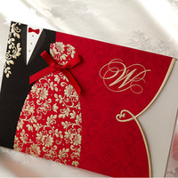 Invitations & Invitation Buckles Folded Red 50 Pcs Lot, Festive Red Lover Wedding Invitation Card with Envelopes and Seal, Wholesale Available, New Arrival
