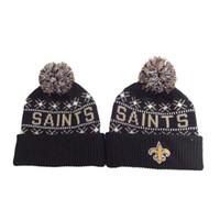 Wholesale Saints Beanies Fashion Knitted Caps Football Team Beanie Caps Newborn Pom Pom Hats Boys Girls Beanies Warm Snow Ski Headwear