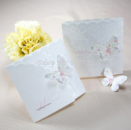 Wholesale Butterfly Wedding Invitation Card Pearly Paper Perfect Quality With Envelopes And Seals