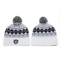 Wholesale Beanies of Raiders Hot Knitted Caps New Football Team Beanie Hats Fashion Sports Beanie Cap Outdoor Hats Caps Unisex Pom Beanies