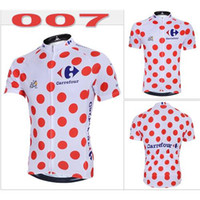 Wholesale 2014 Tour Le France Cycling Jerseys Fashion Red Dot White Cool Mountain Bike Jerseys Short Sleeves High Quality Cycling Jerseys