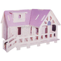 Wholesale Puzzle Wooden Fence Hut Model DIY Simulation D Three dimensional Fence Hut Jigsaw Puzzle Toy For Children