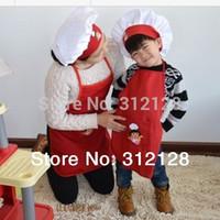 Wholesale children dora apron kid apron hat set cartoon cooking apron cooker hat chef cap kids party apron with hat red color