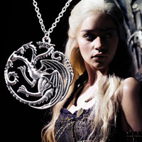 Pendant Necklaces alloy games - 2014 new Flim Jewelry Daenerys Targaryen Dragon Necklace Game of Throne Fire And Blood