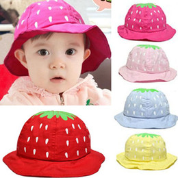 Wholesale 1PC Lovely Child Strawberry Sun Hats Kids Cotton Hats Baby hats Fit for Years old baby Bucket Colors Free Ship