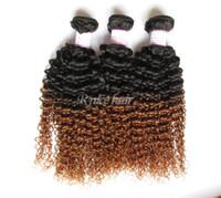 Extensions de cheveux vierges frisées bouclés de deux tonalité 2 pièces de pcs 10