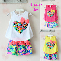 Girl Spring / Autumn Sleeveless (4set lot) girls clothing sets love print summer children baby & kids clothes sets (T-shirt + shorts) white yellow red in stock