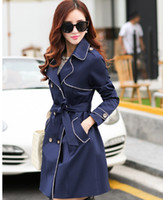 Wholesale New Arrived Spring Autumn Women Fashion Long Sleeve Trench Coats Ladies Sexy Multicolor Long Dust Coat Girls Casual Slim Windbreaker Surcoat