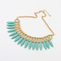 Wholesale ivory shape Turquoise necklaces Hot Sale Tassel Turquoise Drop Bib Collar Choker Necklaces With Shinning Diamond Jewelry