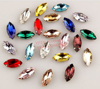 Wholesale mm eyeshape mixed colors crystal glass rhinestone loose piece for furniture craft clothes decoration