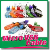 Wholesale S5 Cable Micro USB Cable Noodle Flat Fabric Braided Cable M ft Micro USB For Galaxy S3 S4 HTC Blackberry USB wire Colorful Knit Pieces