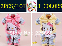 Wholesale Baby piece suit set Tracksuits Girl s Hello Kitty clothing sets Velvet Sport suits Hoody jackets pants Autumn Spring