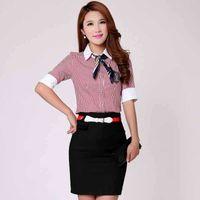 ladies skirt suits - Fashion Summer XL tops Skirts British Style sets slim ol skirt suits cotton Lady Short elegance Working Suit Sets stripe shirt