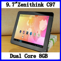 Wholesale 9 quot Zenithink C97 dual core Amlogic Cortex a9 GHz Android GB GB IPS Screen tablet pc