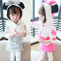 Girl Spring / Autumn Long High Quality Infant Baby Girls Lovely Sets Mouse Big Bowknot Hat Minnie Style Polka Dot Hoodies Coats + Pantskirt Skirts Cotton Suiis A707