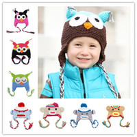 Wholesale 22pcs Cotton Children Handmade Crochet Monkey and Piggy and Parrot Hats Various Animal Styles Hat Baby Owl Beanie Hat Wool EarFlap Cap