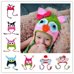 Wholesale 15pcs Cotton Children Handmade Crochet Monkey and Piggy and Parrot Hats Various Animal Styles Hat Baby Owl Beanie Hat Wool EarFlap Cap