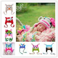 Wholesale 100pcs Toddler Owl EarFlap Crochet Hat Baby Handmade Crochet Monkey Beanie Hats Parrot Various Animal Styles Beanies Piggy Knitted Hats