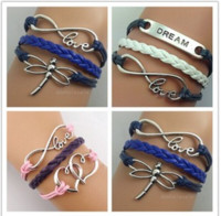 Wholesale Retro Multicolor Dragonfly Multilayer Multi Wax Line Multi element Charm Handwoven Velvet Rope Bracelet word love dream double peach heart
