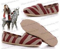 Wholesale drop shipping Mix color Women s stripes classic flats casual canvas shoes plain zebra stripes canvas Shoes size