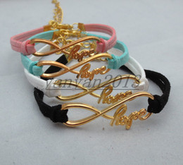 Wholesale GOLD Infinity hope Wish Bracelet Antique Bronze Infinity Bracelet Korea velvet Bracelet Friendship Gift