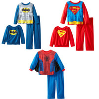 Unisex cdm - Children s Pajamas Superman Batman Spider Man T shirt and Trousers Suit Pajamas Suits Cotton Top Quality CDM