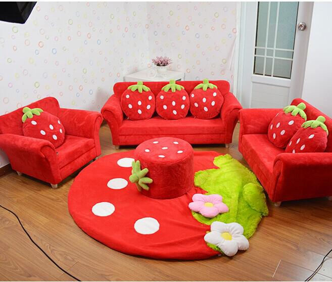 Coral velvet children sofa chairs cushion furniture set cute strawberry style couch for kids Kids lounge sofa