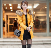 Wholesale Hot sale new Winter women parkas big size Thick Wool collar slim sports coat Plus velvet padded jacket coat women down jacket with belt