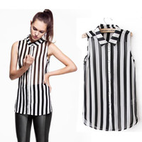 Sleeveless Regular Polyester 2014 New Fashion S M L XL XXL Women Ladies Chiffon Stripe Sleeveles Blouse Tops Free Shipping Wholesale