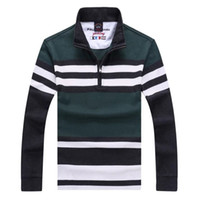 Men Long Sleeve 100% Cotton 8529 hot Sell Free shipping New fashion men stripe 3colors 14shark brand casual style Embroidery lapel long sleeve T-Shirts