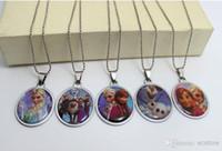 Pendant Necklaces disney wholesale - Frozen Stainless Steel Pendant Necklaces Fashion Jewelry Disney Princess snow Romance