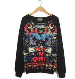 New 2014 Fashion Hip-Pop Devil Music Comic Novelty Sport Suit Women Sweatshirt Skull Print Harajuku Sweatshirts Women Hoodies