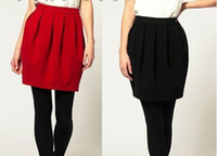 Acrylic Solid Above Knee Free Shipping WOMEN'S CHIC SEXY PLEATED WOOLEN BUD SKIRT WITH POCKET#1269