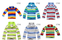 Wholesale 6pcs let New Children s Boys Striped Polo Boy Long Sleeve T shirts clothes kids Baby Polo outwear clothing for Spring Autumn