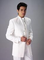 Wool Blend Same as Image Three Custom Made Two Buttons Groom Tuxedos Mandarin Lapel Best man Suit White Groomsman Bridegroom Wedding Prom Suits (Jacket+Pants+Tie+Vest)A102