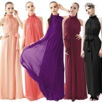 Casual Dresses Sleeveless Ankle-Length New Women Dresses Ladies Boho Maxi Dress Summer Spring Chiffon Dress Sleeveless Halter Long Sundress Lined Ribbon Belted