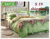 Yes Cotton 4 pcs duvet hot sale new arrival freeshipping home frozen bedclothes 2014 textile bedding cotton denim linen quilt four sets of double