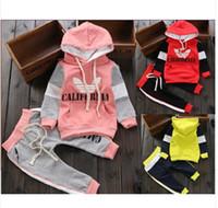 Wholesale sport jogging Sweater suit two piece children Hedging outerwear Hoodies pants shampooers Boy Girls suits