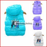 Wholesale Girls Girls Frozen Sleeveless Jacket Children Tank Tops Horse Vest With Hood Girl Clothes Winder Coat Korean Children Clothing Pieces