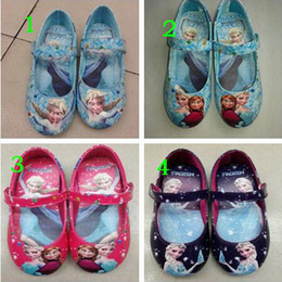 Wholesale Manufacturers of low cost sales Frozen elsa and anna shoes blue girls flats kids children princess shoes pairs