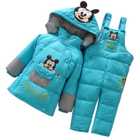 Wholesale Hot Sale Winter Thickening Children s Suits For Boys Girls Warm White duck down Coat Bib Pants Suits Baby Warm Clothing